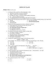 CHEM 1212 Test III - Valdosta State University