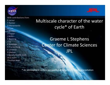Keynote Talk – Multi-Scale Water Cycle Characteristics