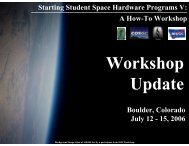 Starting Student Space Hardware Programs V: A How-To Workshop ...