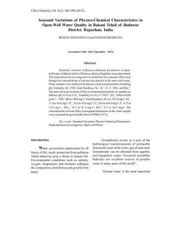 Seasonal Variations of Physico-Chemical ... - Ultrascientist.org