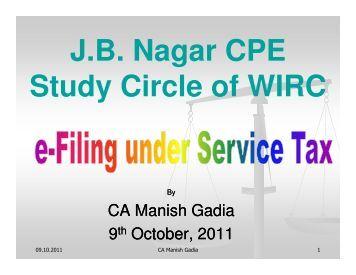 J B NAGAR CPE STUDY CIRCLE OF WIRC OF ICAI