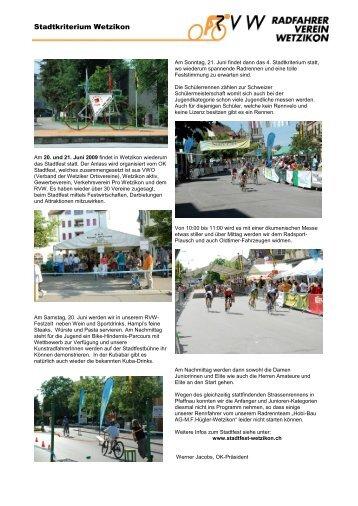 Organisation Stadtkriterium Wetzikon - Radfahrer Verein Wetzikon