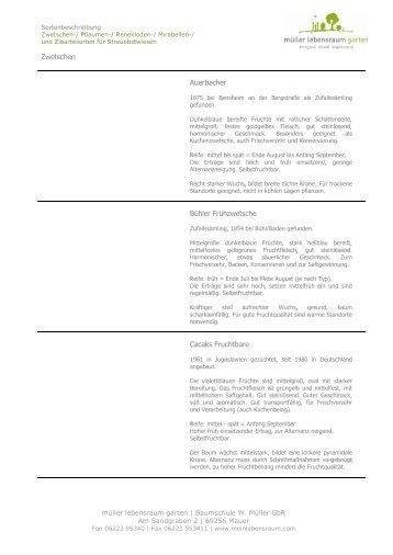 Zwetschensorten für Streuobstwiesen - müller lebensraum garten