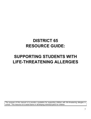 supporting students with life-threatening allergies - District 65