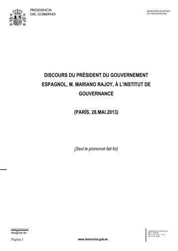 DISCOURS DU PRÉSIDENT DU GOUVERNEMENT ESPAGNOL, M. MARIANO RAJOY ...