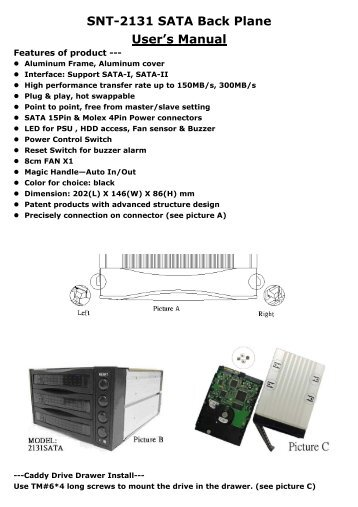 SNT-2131 SATA Back Plane User's Manual - Chieftec