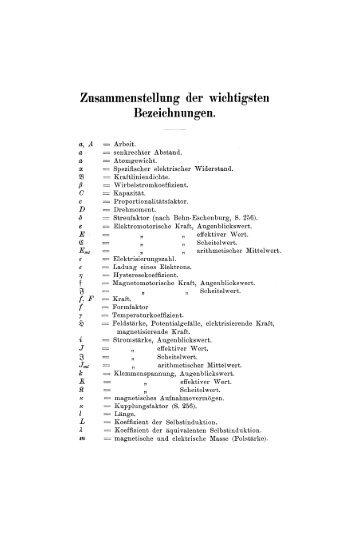 Zusammenstellung der wichtigsten Bezeichnungen. - Springer