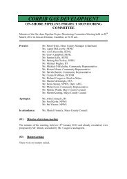 Minutes of On-Shore Pipeline Project Monitoring Committee Meeting