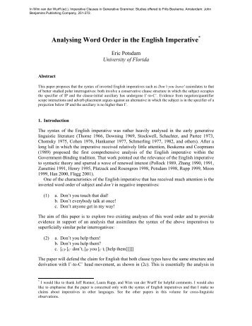 Analysing Word Order in the English Imperative* - University of Florida