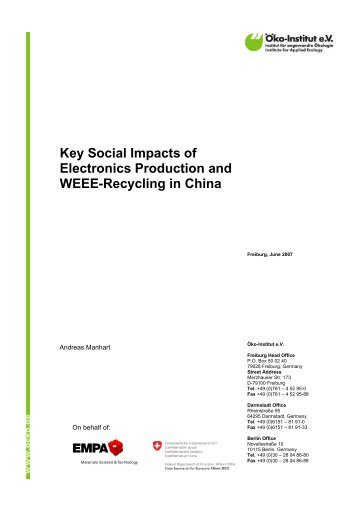 Key Social Impacts of Electronics Production and WEEE-Recycling ...
