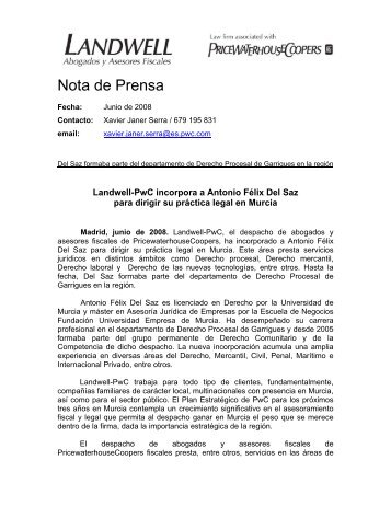 Nota de Prensa - pwc