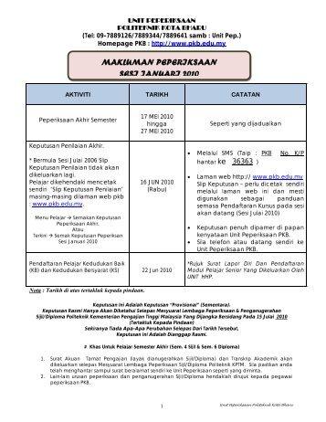 makluman peperiksaan sesi januari 2010 - Politeknik Kota Bharu