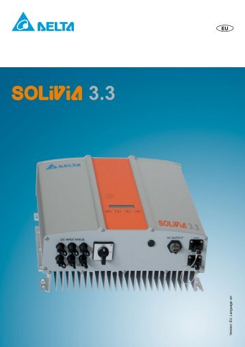 Delta SOLIVIA 3.3 datasheet - EvoEnergy