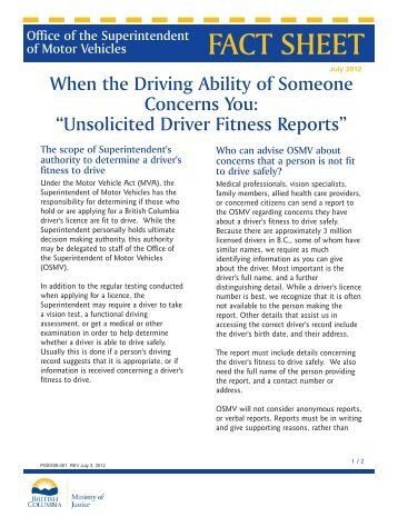 Unsolicited Driver Fitness Reports