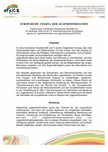 Europäischen Charta für Jugendinformation - Jugendinfo.at