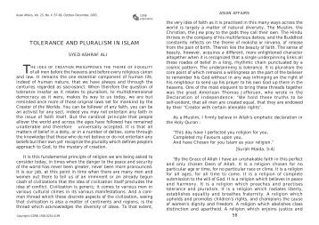 TOLERANCE AND PLURALISM IN ISLAM - Cdrb.org