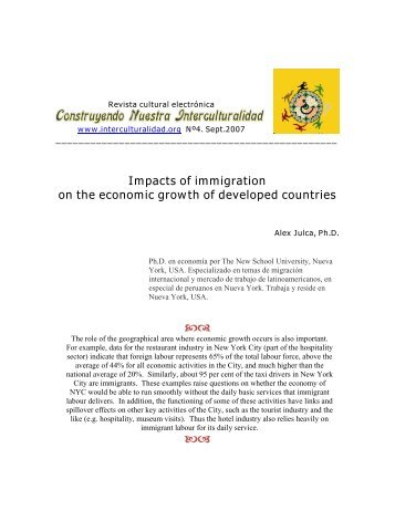 Impacts of immigration on the economic growth of developed countries
