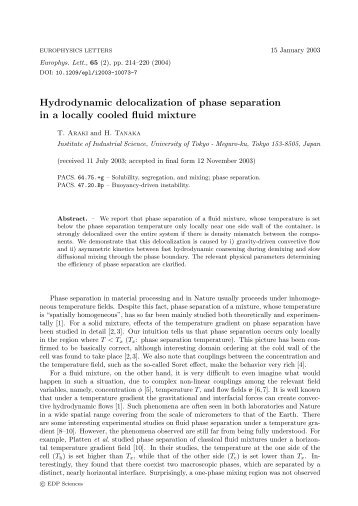 Hydrodynamic delocalization of phase separation in a locally cooled ...