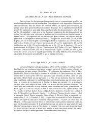 1 LE CHAPITRE XIII LES ERREURS DE LA DOCTRINE BAPTISTE ...