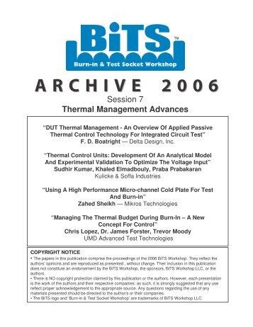 ARCHIVE 2006 - BiTS Workshop