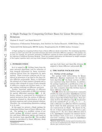 arXiv:cs.SC/0509070 v2 10 Nov 2005 - Lehrstuhl B für Mathematik