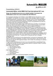 Pressemitteilung BMW Golf Cup International ... - Automobile Müller