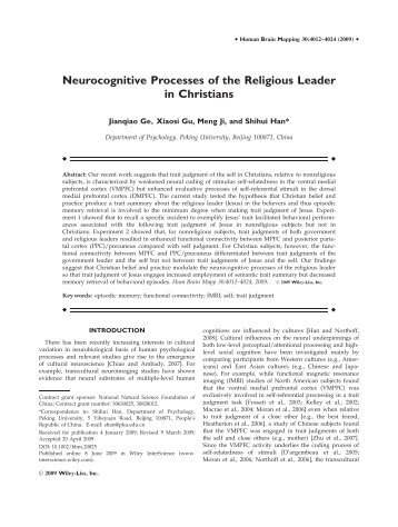 Neurocognitive processes of the religious leader in Christians
