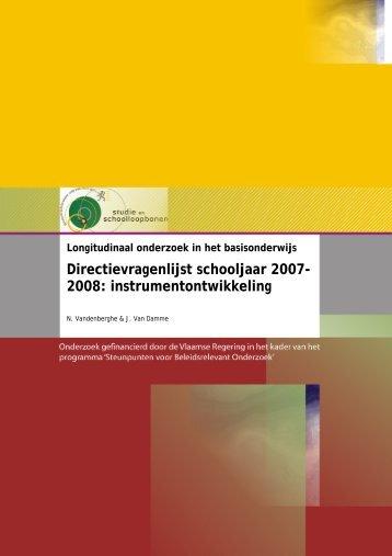 Directievragenlijst schooljaar 2007- 2008: instrumentontwikkeling