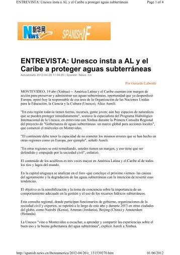 Unesco insta a AL y el Caribe a proteger aguas subterráneas