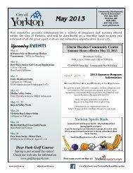 May 2013 Newsletter - City of Yorkton