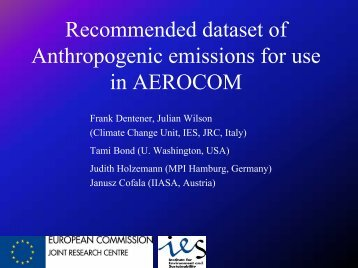 Recommended dataset of Anthropogenic emissions for ... - AeroCom