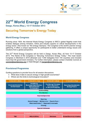22 World Energy Congress - Swiss Energy Council