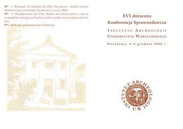 Bez nazwy-1.indd - Instytut Archeologii Uniwersytetu Warszawskiego