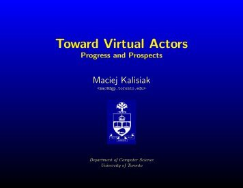 Toward Virtual Actors - University of Toronto Dynamic Graphics Project