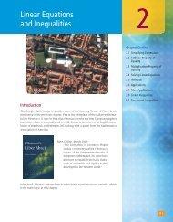 Linear Equations and Inequalities - XYZ Custom Plus