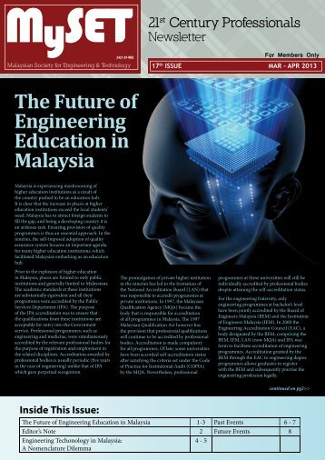 Issue 17 : April - May 2013 - malaysian society for engineering and ...
