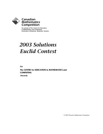 2003 Solutions Euclid Contest - CEMC - University of Waterloo