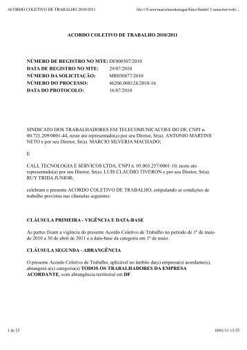 ACORDO COLETIVO DE TRABALHO 2010/2011 - Sinttel-DF