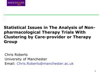 Statistical issues in the analysis of non-pharmacological therapy ...