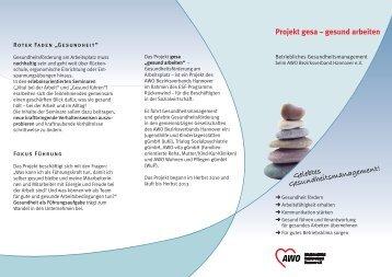 Projekt gesa – gesund arbeiten Gelebtes Gesundheitsmanagement!