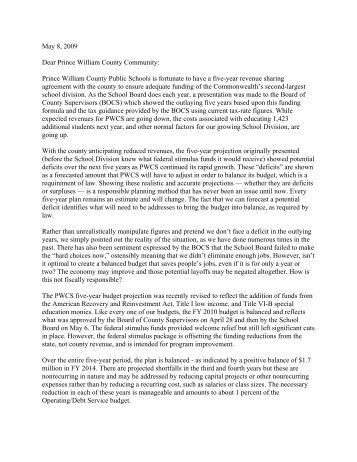 Letter to Community from School Board Chairman Milt Johns ...