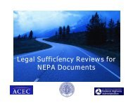Legal Sufficiency Reviews for NEPA Documents