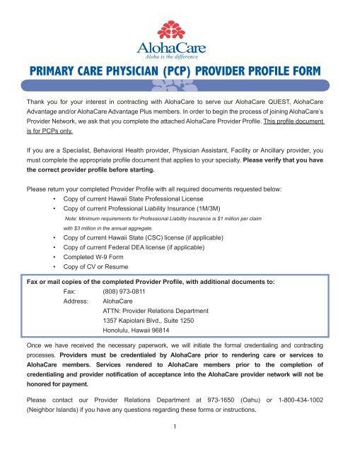 w-9 form hawaii  pcp) provider profile form - AlohaCare