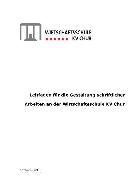 Formale Richtlinien für schriftliche Arbeiten - Wirtschaftsschule KV ...