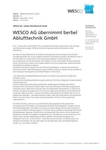 WESCO AG übernimmt berbel Ablufttechnik GmbH