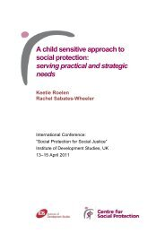A child sensitive approach to social protection - Institute of ...