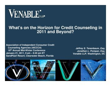 What's on the Horizon for Credit Counseling in 2011 ... - Venable LLP