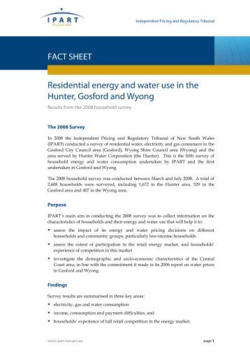 Residential energy and water use in the Hunter ... - Origin Energy