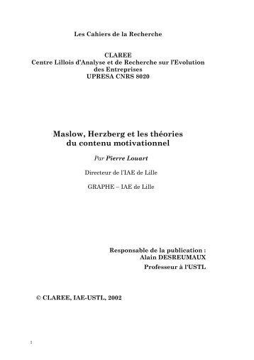 Maslow, Herzberg et les théories du contenu motivationnel