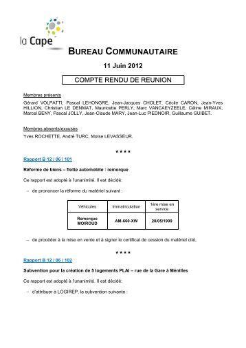 Bureau communautaire - Compte-rendu du lundi 11 juin 2012 - CAPE